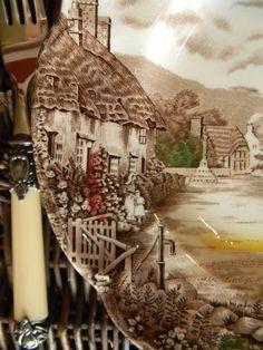 Beautiful detail of brown transferware.  Olde English Countryside.