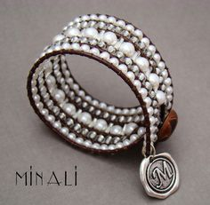 Southern Girls Wear Pearls - Pearl & Leather Wrap Cuff Bracelet - product image