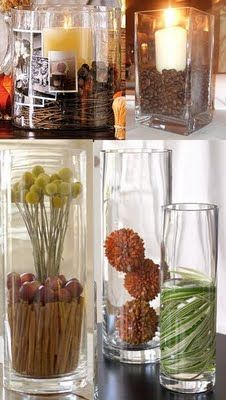 I love glass vases, great ideas if you have extra vases laying around!