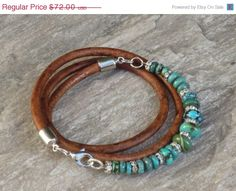 ON SALE Boho Chic Genuine Turquoise Bead and Crystal Triple Leather Wrap Bracelet