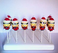 Christmas minion cake pops Awesome !