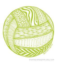 Volleyball art print, ...