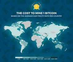 Map of Bitcoin mining costs by country around the world