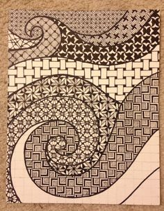 Zentangle waves and swirls Part 3 of 3 created by Meredith Terry (almost finished)