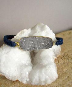 Black Agate Geode Slice Earrings Druzy Quartz by julianneblumlo