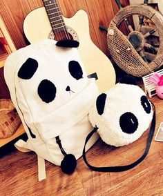 I found 'Panda Backpack Kawaii Cute White Black Bag Purse Animal Fluffy Fuzzy Soft Ears Pom Poms Furry Zippers Canvas' on Wish, check it out!