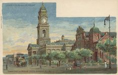 Town Hall and Public Baths, West Street, Durban South Africa, African, History, Street, City, Town Hall, Painting, Graham, Image