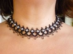 Tatted Lace Choker necklace The Debutante with by SnappyTatter, $28.50