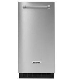 <p>Fabricador de hielo KitchenAid. Capacidad: Almacena hasta 25 Lb de hielo. Mueble de 15¨ (38cm).Color: Acero</p>