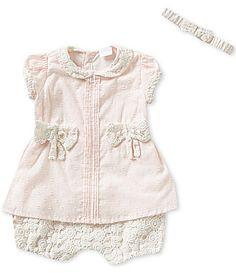 Edgehill Collection Baby Girls Newborn6 Months Swiss Dot Romper and Headband Set…