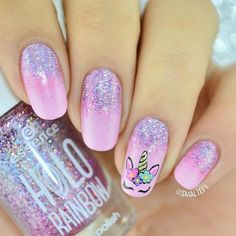 Love these nails! So cute! Unicorn Beauty Unicorn Fashion Unicorn M - - Love these nails! So cute! Unicorn Beauty Unicorn Fashion Unicorn M Unicorn Nails Designs, Unicorn Nail Art, Unicorn And Glitter, Unicorn Makeup, Cute Unicorn, Cute Acrylic Nails, Cute Nail Art, Glitter Nails, Cute Nails
