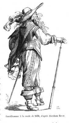 A detail from: Gentlemen of 1625-1630, for after Abraham Bosse, vintage engraved illustration. Magasin Pittoresque 1857.