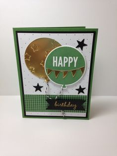 Shell's life - Used Stampin' Up! Celebrate Today stamps, Balloon framelits, Itty Bitty Accents punch, Banner punch, Lucky Stars embossing folder.  Please see my blog for details