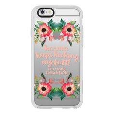 Karma keeps kicking my butt- watercolor florals - iPhone 6s... (€36) ❤ liked on Polyvore featuring accessories, tech accessories, iphone case, clear iphone cases, floral iphone case, iphone cases, iphone cover case and apple iphone cases