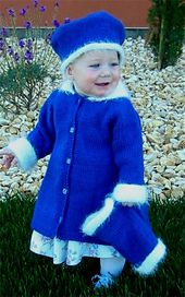A top down A line coat, trimmed in a fuzzy yarn, with a hat and muff to match. Can be made in wool for the fall and winter, or cotton for spring. Worsted weight yarn at a gauge of 4 1/2 stitches to the inch. Toddler girls sizes 1, 2, 3 and 4.