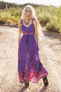 Sunset Road Frill Maxi Dress - Royal