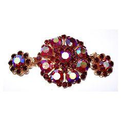 Red Rhinestone Brooch Earring Demi Set Aurora Borealis Big Bold Gold... ($50) ❤ liked on Polyvore featuring jewelry, earrings, vintage rhinestone jewelry, vintage jewellery, red rhinestone earrings, vintage earrings and red rhinestone jewelry