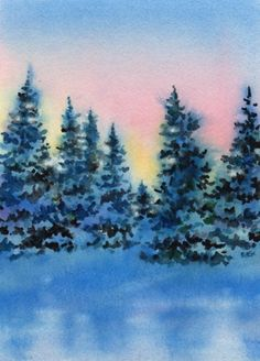 SHADOWED PINES watercolor landscape painting, painting by artist Barbara Fox