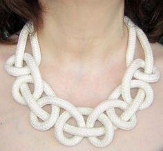 Big knot necklace natural color 2. Cotton rope.
