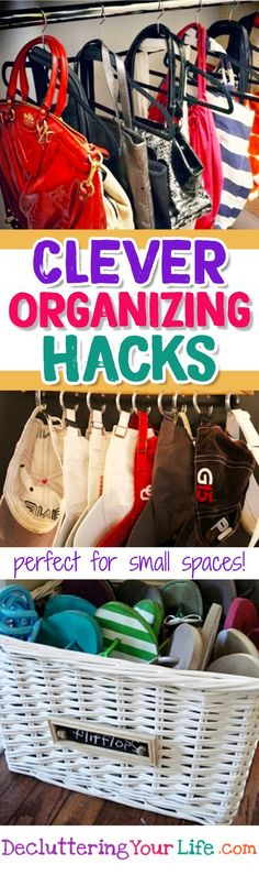 storage hacks for small spaces -  organizing hacks - organizing hacks dollar stores - organizing hacks bedroom - organizing hacks diy - organizing hacks kitchen - organization hacks #lifehacks #gettingorganized #closetorganizationtips #closetstorage #diyorganization