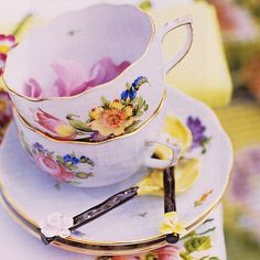 Floral china. From the Brabourne Farm blogspot.