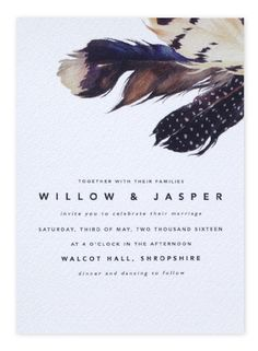 Chic Modern Feathers Boho Wedding Invitations from Etsy