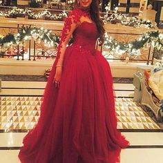 Vestido Longo De Festa High Neck Lace Appliques Red Ball Gown Long Sleeve Evening Dress 2017 Custom Made Longl Prom Dresses
