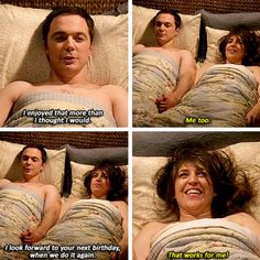 """""""I look forward to your next birthday, when we do it again"""" - Sheldon and Amy #TheBigBangTheory ((It happened!!))"""