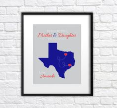 Gift for Mom, Mothers Day Print - 8x10 Custom Map, Long Distance, Texas, You Choose Locations - Thoughtful Gift for Mother in Law, Grandma