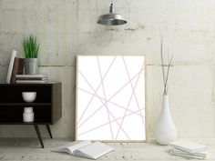 Large Abstract Decor Abstract Pictures Pink Wall Art by OjuDesign