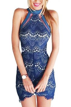 Halter Neck Lace Lined Dress.