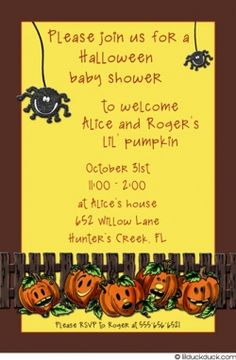 143 best halloween baby shower invitations images on pinterest pumpkin and spider halloween baby shower invitations how cute filmwisefo
