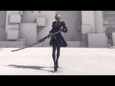 NieR: Automata All Motion Videos Animation Portfolio, Flash Animation, Animation Reference, Gifs, Nier Characters, Sword Poses, Principles Of Animation, Great Sword, Human Poses