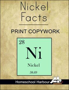 Nickel Facts Print Copywork Notebook
