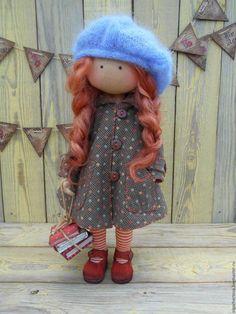 Купить МАЛЫШКА в ПАЛЬТИШКЕ - комбинированный, кукла ручной работы, кукла текстильная, кукла в пальто
