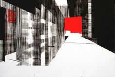"""Building 4, screenprint with handpainting on mylar by Ryan Parker, 17 3/4 x 26"""""""