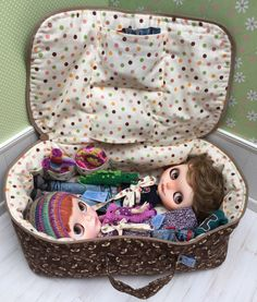 Travel Bag Sleeping Protective For Two Dolls Case Blythe Littlefee Handcrafted Handmade 1/6 Bjd Dal Pullip Wasp Bees Brown