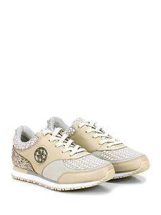 GUESS - Sneakers - Donna - Sneaker in pelle, glitter, eco pelle e tessuto con suola in gomma. Tacco 25, platform 15 con battuta 10. - BEIGE - € 120.00