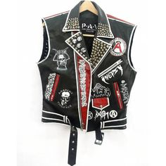 Faux Leather Punk Rock Biker Vest Crust Punk ($435) ❤ liked on Polyvore featuring home, home decor, punk rock home decor and punk home decor
