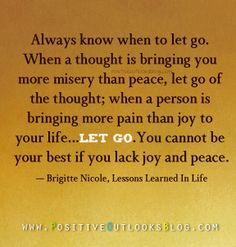 """""""Always know when to let go. When a thought is bringing you more misery than peace, let go of the thought; when a person is bringing more pain than joy to your life, let go… You cannot be your best if you lack joy and peace."""" ~ Brigitte Nicole , Lessons Learned In Life"""