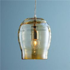 "Golden Ribbed Glass Pendant Light9""Hx7""W) 4.25"" opening at bottom. 5"" round chrome canopy. 6' of clear/silver cord.  $95"