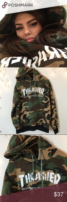 SOLD Authentic thrasher hoodie. Sold out. Super Duper soft inside fleece material Best for women's small or medium oversized fit as seen on Sahar Luna @sahar.luna on Instagram. In great condition colors are slightly faded but white graphic logo is in perfect condition. Brandy Melville Tops Sweatshirts & Hoodies