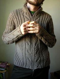 Ravelry: Urban Aran Cardigan pattern adapted by Jared Flood Knitting Patterns Free, Knit Patterns, Free Pattern, Crochet Men, Knit Cardigan Pattern, Cable Knit Sweaters, Knitwear, Men's Knits, Waiting