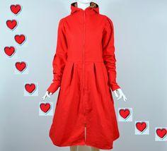 Lange Mäntel - 38 Baumwolle in Rot, Mantel FLORENCE - ein Designerstück von…
