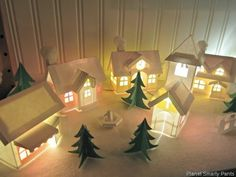 Christmas-Village made of paper. Lovely idea for holiday decorating.