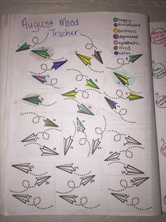 My August mood tracker - paper airplanes #bujo #airplanes #mood #tracker #bulletjournal #moodtracker #journal