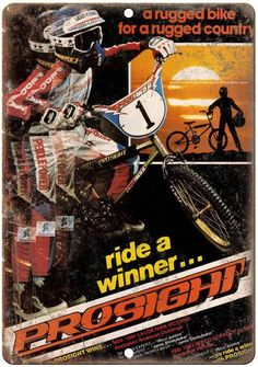 "Prosight Ride A Winner BMX 10"" x 7"" Reproduction Metal Sign"