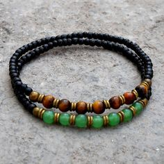 Ebony mala bracelets with aventurine, tiger's eye gemstone and African trade beads by #lovepray #jewelry