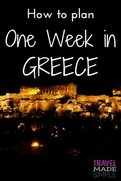 Our simple Greece itinerary will get you on your way to exploring a few of these destinations and help you plan one week in Greece. Learn about Greek history, food, scenery and ancient ruins. things to do in Greece Europe Travel Tips, European Travel, Places To Travel, Travel Hacks, Travel Guides, Travelling Europe, European Vacation, Travel List, Travel Abroad