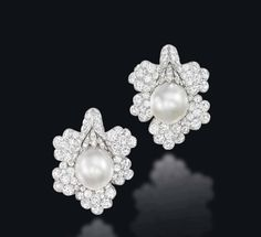 A PAIR OF CULTURED PEARL AND DIAMOND EAR CLIPS, BY VAN CLEEF & ARPELS